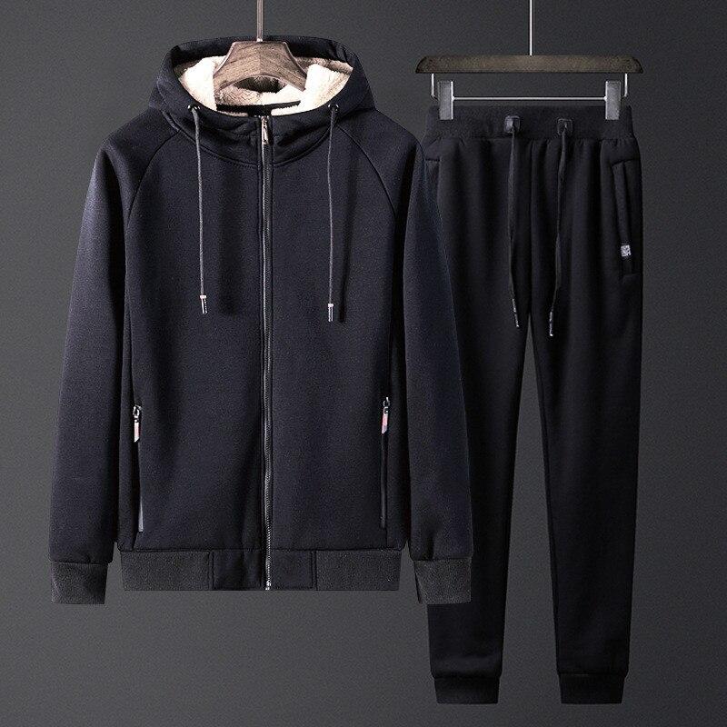 Мужские комплекты, зимние спортивные костюмы, мужские плюс вельветовые утепленные куртки с капюшоном высокого качества + спортивные штаны, ...