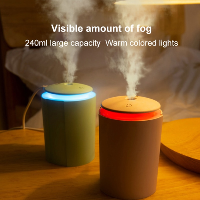 USB 260ml Air Humidifier Home Car Office Humidifier Aroma Diffuser LED Backlight  Humidification Mist Maker Refresher