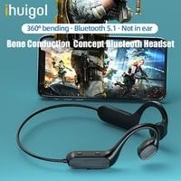 ihuigol bone conduction earphone bluetooth wireless headphones sweatproof waterproof open ear headsets for iphone xiaomi running