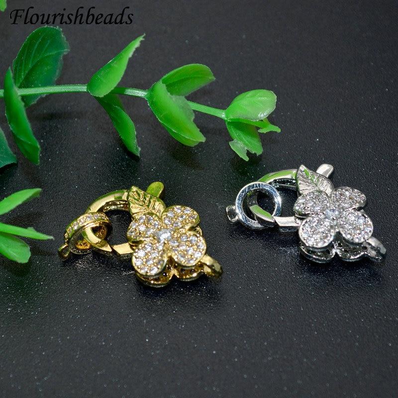 10 шт./лот, высокое качество, Pave CZ, в форме цветка, застежка-карабин, крючки, сделай сам, ювелирные изделия, задатки, ожерелье, браслет, цепь, акс...
