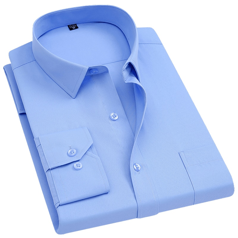 Men's Long Sleeve Standard-fit Solid Basic Dress Shirt Single Patch Pocket Formal Business Work Butt