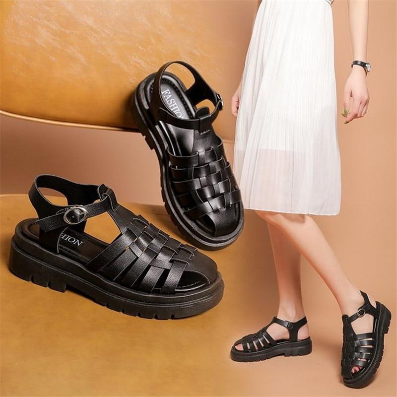 Gladiator Platform Women's Sandals 2021 Summer Fashion Women Chunky Beach Sandal Pu Comfortable Sandalias Mujer