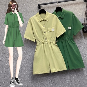 EHQAXIN Summer Plus Size Women's Jumpsuit Dress New Fashion Korean Button Short-Sleeved Drawstring Jumpsuit Tooling Style L-4XL