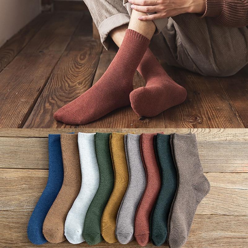 Носки мужские махровые носки средней длины осень-зима утолщенные Теплые повседневные цветные плюшевые махровые носки