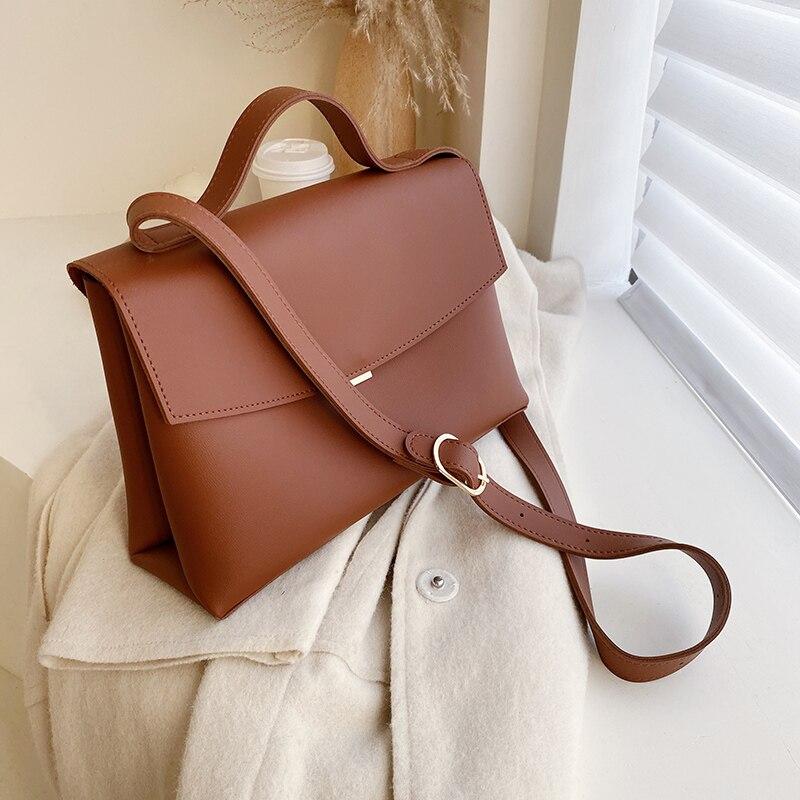 2021 New High Quality PU Leather Womens Designer Handbag Vintage Fashion Female Tote Bag  capacity Shoulder Messenger