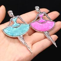 natural abalone shell brooch ballet girl shell brooch pendant charms for making diy jewelry party accessories gift size 45x80mm