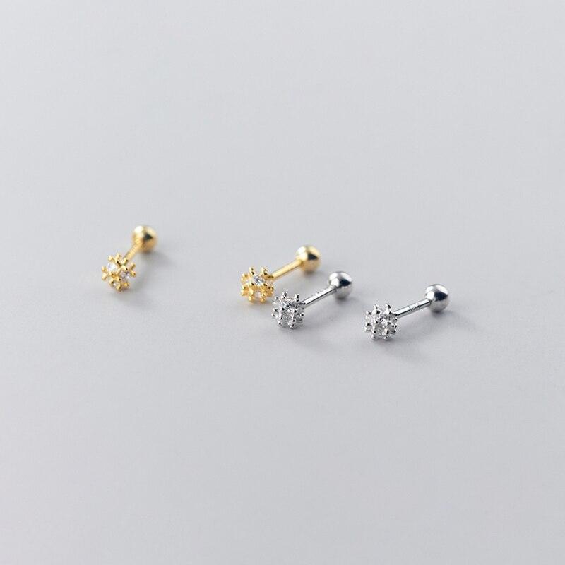 Miqiao dandelion minúsculo parafuso prisioneiro brincos hypoallergenic feminino prata 925 jóias em miniatura coreano simples diamante rosqueado