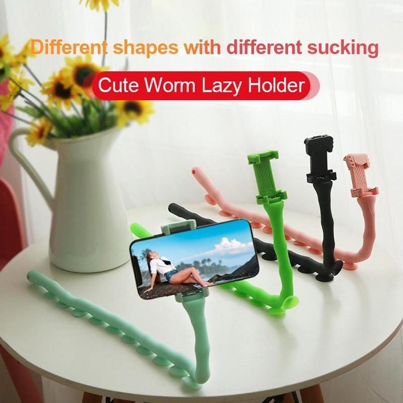 Mais pontos bonito caterpillar preguiçoso suporte do telefone móvel worm suporte ao vivo ventosa suporte de parede desktop pilar titular