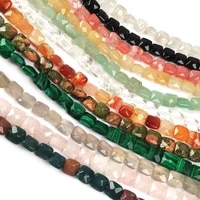 natural stone faceted square shape beading agates crystal scattered beads for jewelry making diy necklace bracelet accessories