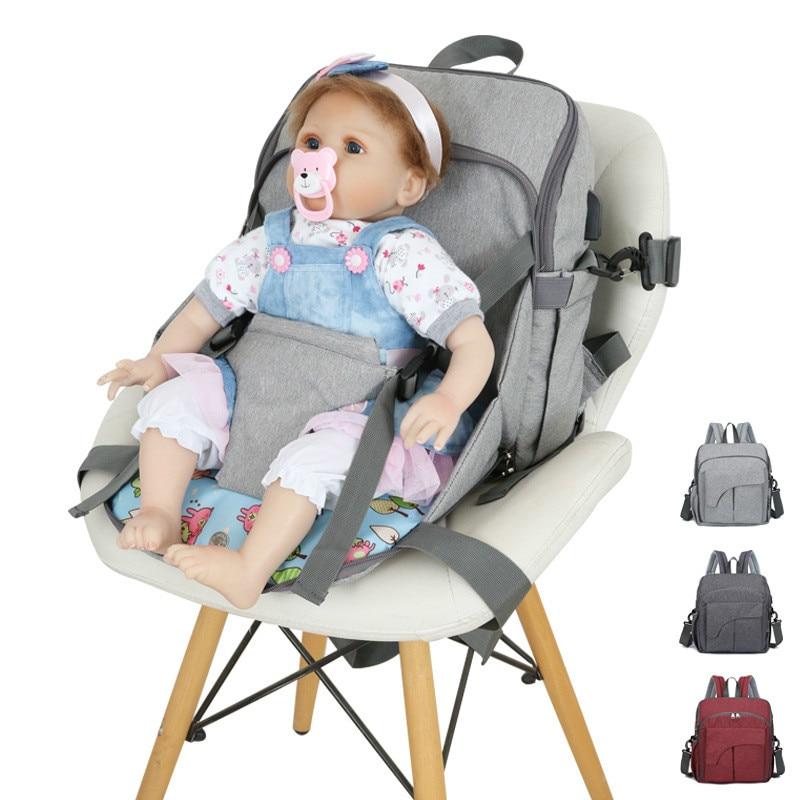 Сумка для детских подгузников, модный простой Нейлоновый однотонный портативный рюкзак с двойным плечом для мам, Товары для малышей