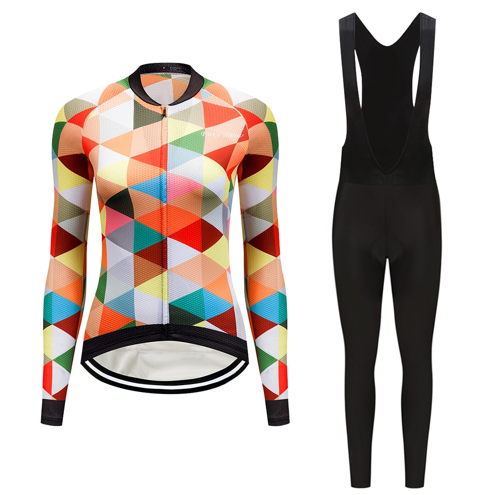 Conjunto de jersey de Ciclismo de manga larga para mujer, conjunto de ropa de bicicleta 2020, vestido de Ciclismo mtb, ropa de maillot, traje de uniforme deportivo, ropa Teleyi