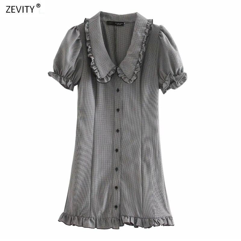 2020 feminino vintage agaric rendas turn down collar xadrez mini vestido feminino breasted hem babados vestidos chiques casual ds3954