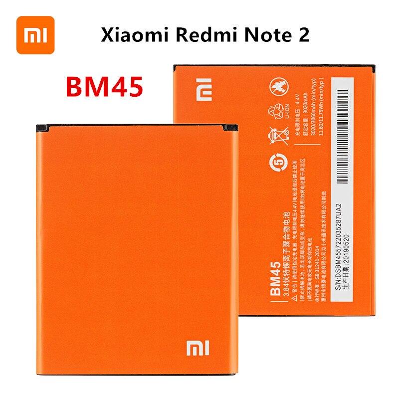 Xiao mi 100% Orginal BM45 3060mAh Battery For Xiaomi Redmi Note 2 Hongmi Note 2 BM45 High Quality Phone Replacement Batteries недорого