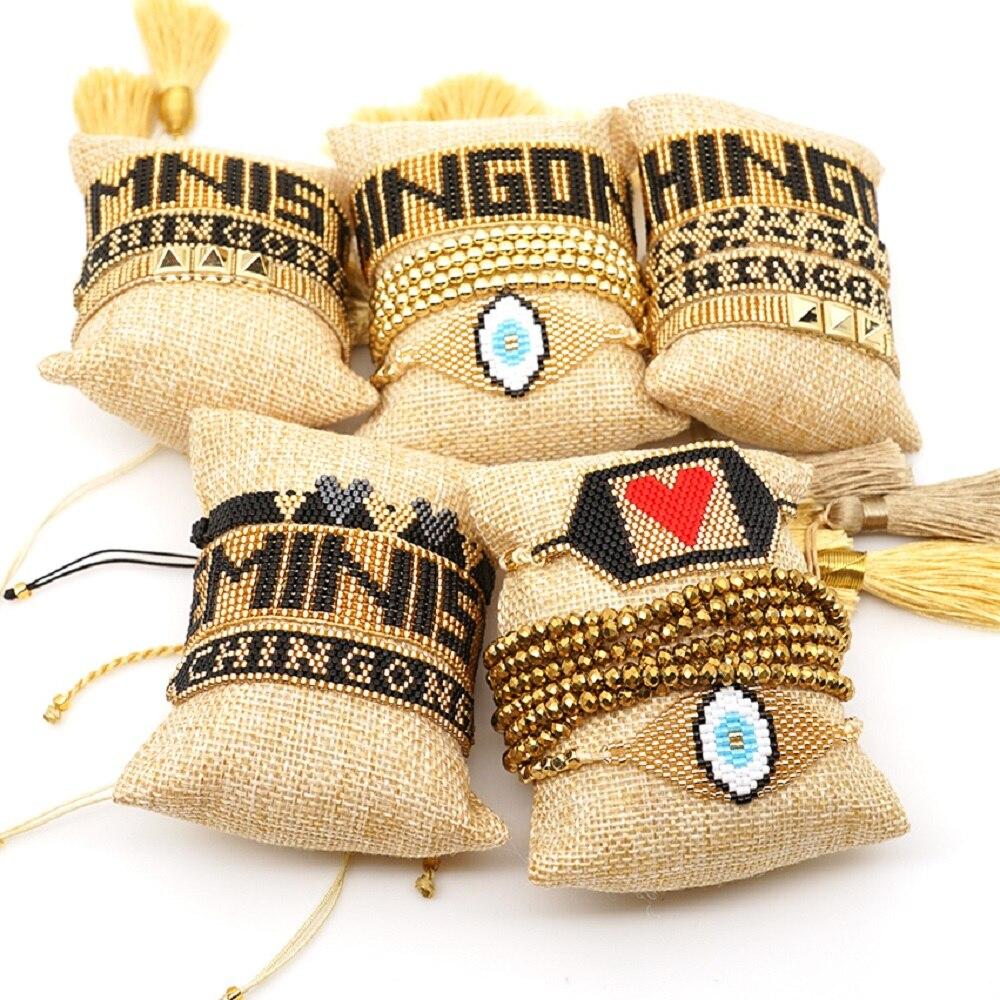 Pulsera de leopardo Go2boho MIYUKI CHINGONA, Pulseras de poder para Mujer, Moda femenina 2019, corazón femenino, pulsera de ojo malvado para Mujer, joyería hecha a mano