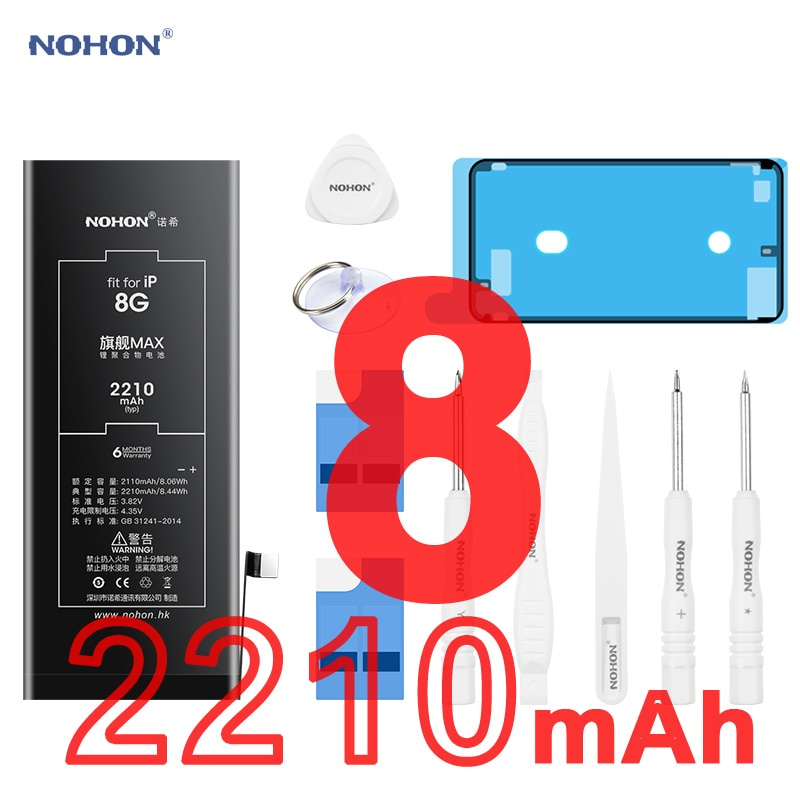 Nohon-بطارية ليثيوم بوليمر عالية السعة لأجهزة iPhone 8 ، 2110 مللي أمبير-2210 مللي أمبير ، 2020