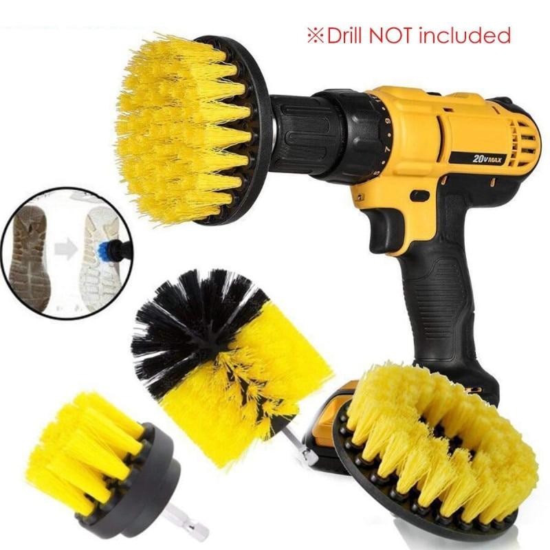 1 Set/3 PCS Electric Drill Brush Kit Plastic Round Cleaning Brush For Carpet Glass Car Tires Nylon Brushes Scrubber Drill
