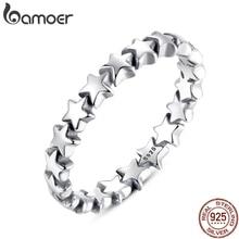 Bamoer 2020 Hot Koop Zilver 925 Ster Ring Voor Vrouwen Bruiloft 100% 925 Sterling Silver Stapelbaar Vinger Ring Sieraden PA7151