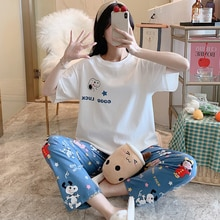 Pajamas Female Spring Autumn Purified Cotton Thin Short Sleeve Pants Sweet and Lovely Girl Set Summe
