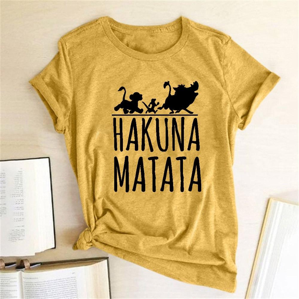 Hakuna Matata, camiseta femenina a la Moda, Linda camiseta Hipster De manga corta con cuello redondo, Playeras De Moda para Mujer, camiseta gráfica 2019