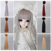 aidolla bjd wig 15100cm tress for dolls natural color straight hair extensions wig doll accessories for 13 14 16 bjd diy