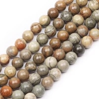 natural round stone beads natural gemstone hole size 6810mm crystal energy stone healing power smooth silver leaf jasper bead
