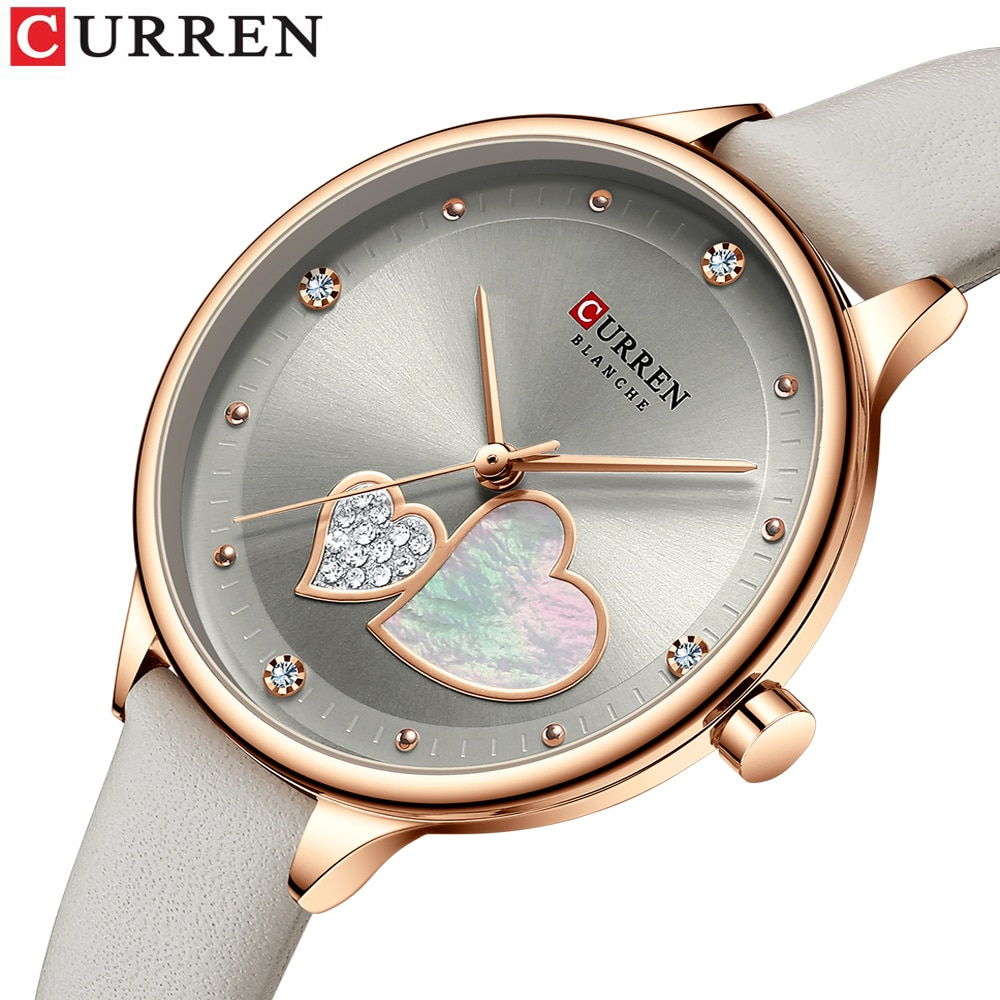 CURREN Women Fashion Gray Golden Quartz Watch Charming Rhinestone Design Waterproof Leather Band Wristwatch Luxury Casual Clock
