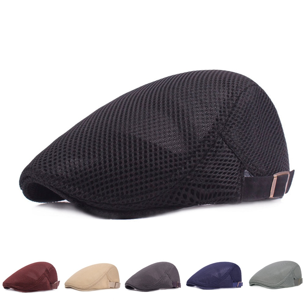 Men Women 1PC Solid Color Mesh Newsboy Style Adjustable Caps Spring Summer Breathable Unisex Casual