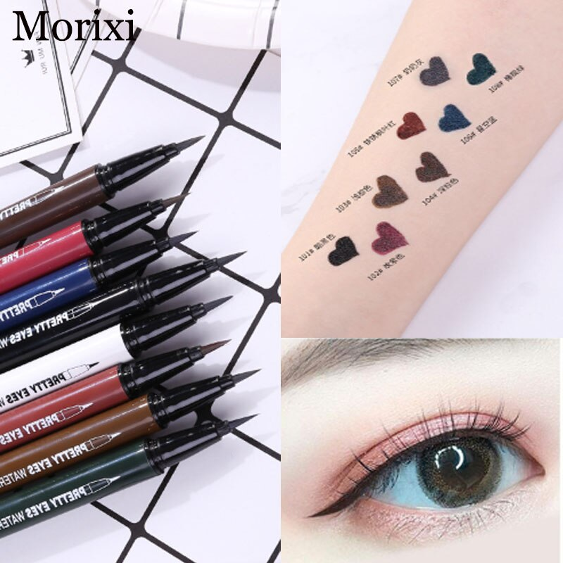 Morixi maquillaje colorido delineador de ojos líquido lápiz vino rojo negro impermeable de larga duración superfino Lápiz Delineador de ojos azul AC042