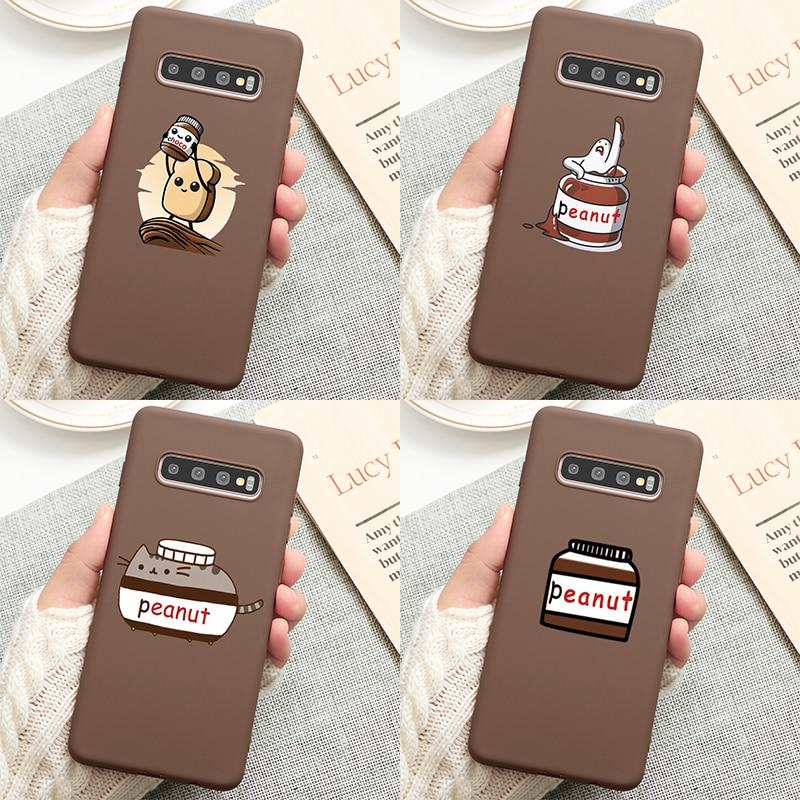 Mantequilla de maní teléfono caso Coque Samsung Galaxy Nota 10 8 9 A70 A50 A40 A71 A51 A7 A9 A6 A8 Plus 2018 A10S suave TPU caso