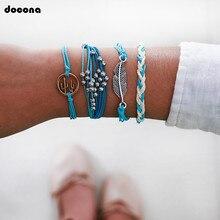 docona Blue Knittied Rope Cactus Leaf Charms Bracelet Set for Women Beaded Layered Bracelet Set Friendship Charm Pulseras 8342