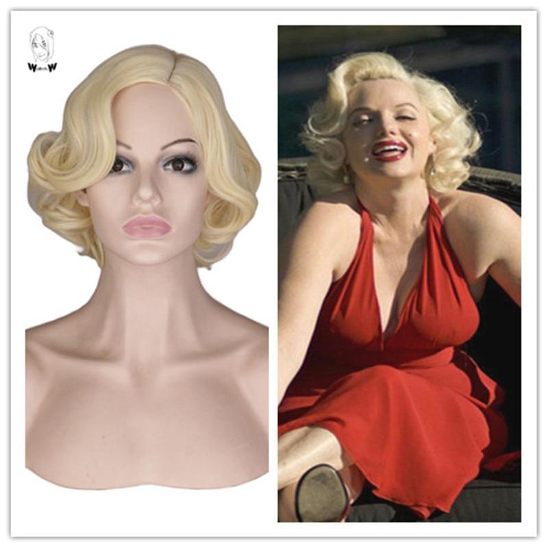 WHIMSICAL W Blonde Wavy Curly Short Hair Wigs Marilyn Monroe Synthetic Wig For Women Naural Heat Resistant Hair