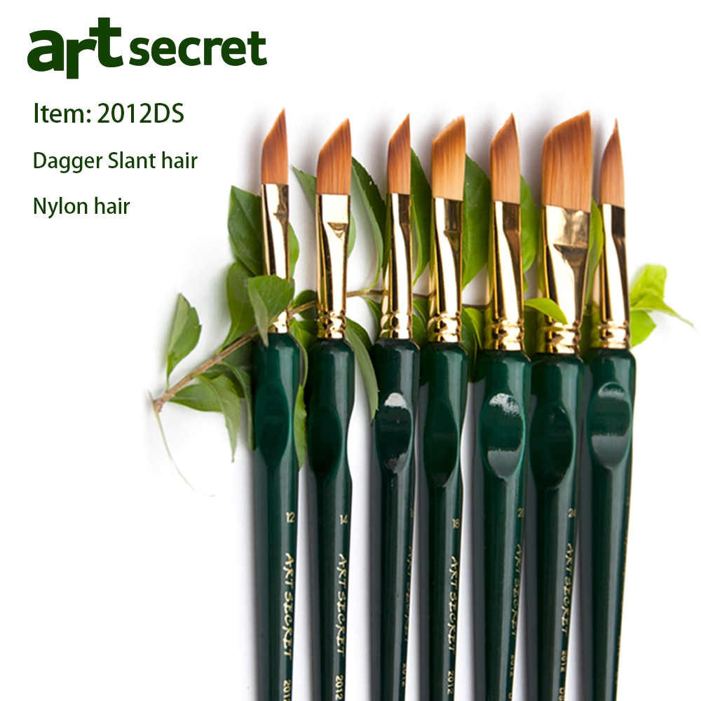 Green painting brush Korea importing synthetic hair brass ferrule wooden rod liner acrylic watercolor art supplies No.2012DS