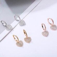 Neue Zirkonia Herz Form Tropfen Ohrringe Für Frauen Gold Farbe Hoop Ohrringe Party Hochzeit Geschenk Mode Schmuck Großhandel