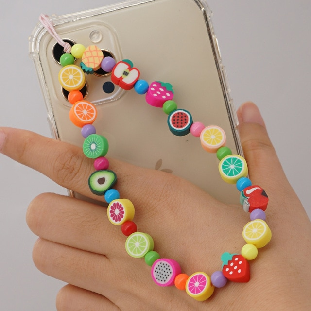 2021 New Fashion And Popular Acrylic Mixed Color Beads Mobile Phone Chain Female Soft Ceramic Mixed Color Fruit Lanyard Jewelry