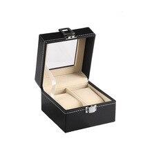 2 espaces de grille boîte de montre de haute qualité cuir synthétique polyuréthane noir bracelet de montre organisateur de stockage pour le voyage