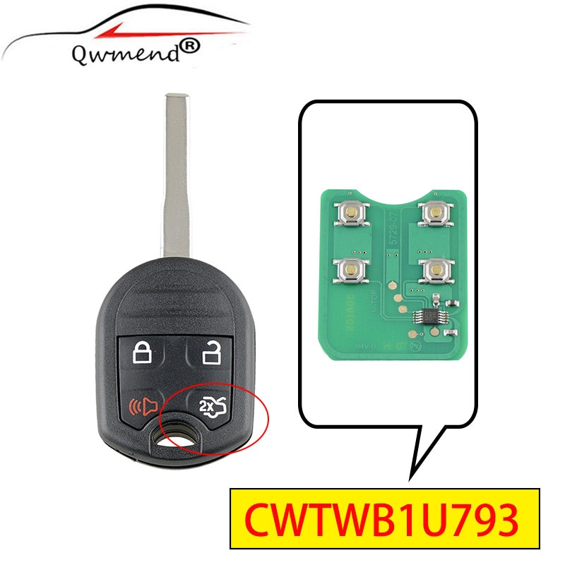Mando a distancia QWMEND CWTWB1U793 con 4 botones para Ford Escape Fiesta, conexión de tránsito, llave de coche c-max 4D63 Chip 315MHz