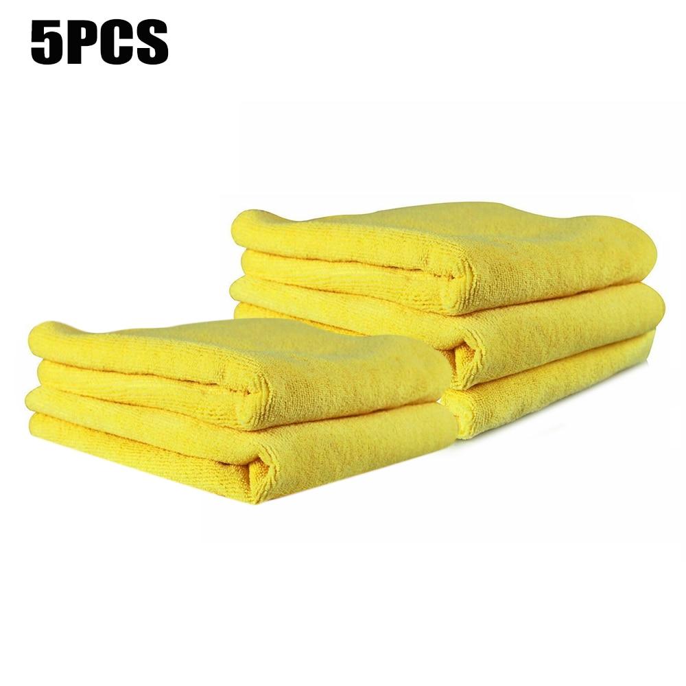 5 unids/set toalla 40x40cm 300gsm microfibra para secado de coche limpiador de vehículo amarillo