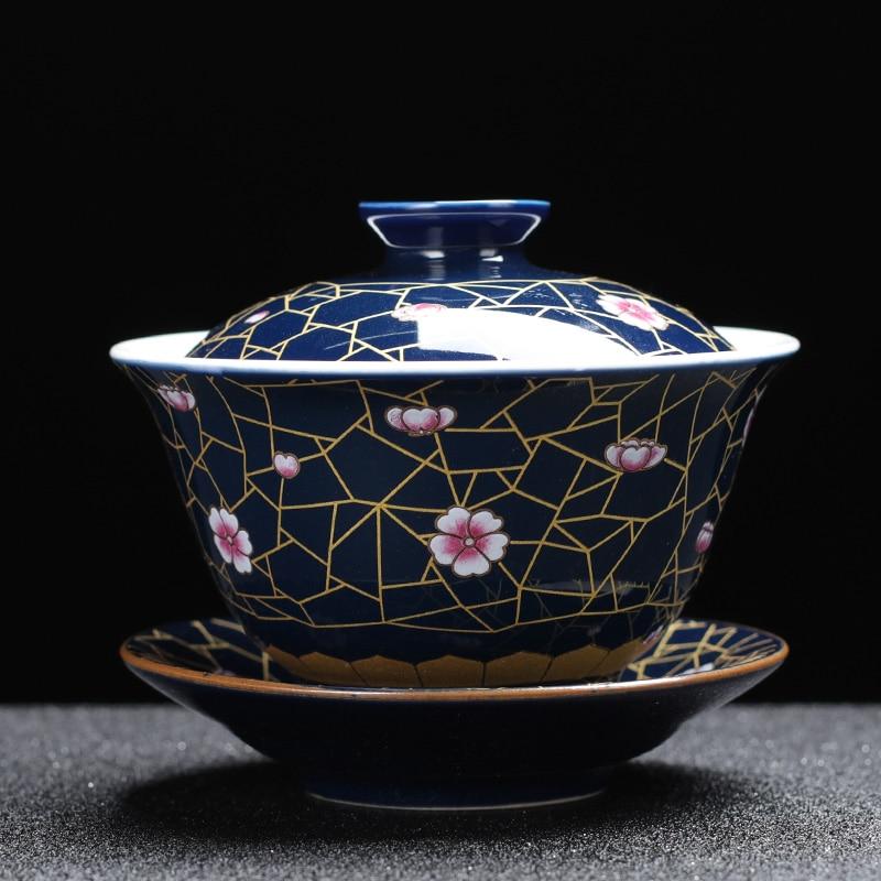 Jingdezhen Zisha Celadon taza de té Gaiwan cerámica grande sola cubierta Bol Sancai tazón de té porcelana blanca juego de té chino