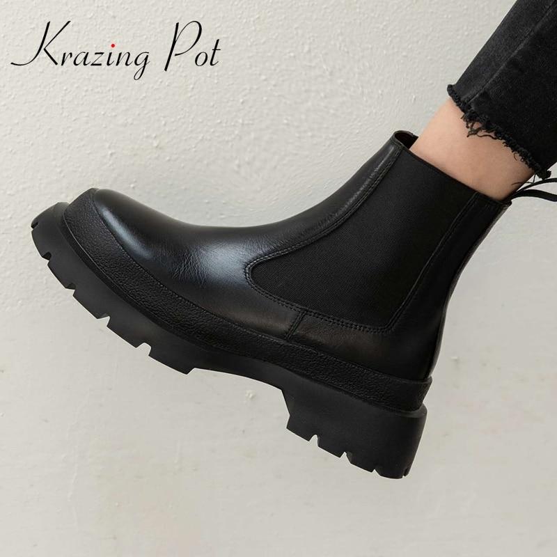 Krasing Pot-بوت تشيلسي من الجلد الطبيعي بمقدمة دائرية للنساء ، حذاء بكعب سميك على الطراز البريطاني ، L70