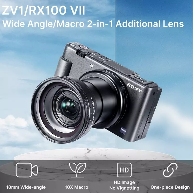 Ulanzi WL-1 18 مللي متر زاوية واسعة عدسة 10X HD عدسة الكاميرا الماكرو لسوني ZV1 ZV-1 RX100 السابع اكسسوارات تعديل عدسة الكاميرا