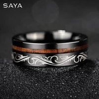 men tungsten ring inlaid acacia wood ring personality ring retro totem jewelry free shipping customized