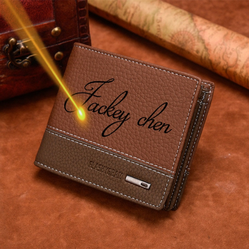 Men Wallet Design and Engrave Names for Free Wallets Personalized Custom Gift for Men carteira mascu