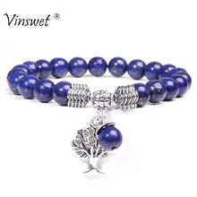 Lebensbaum Charme Armbänder Für Männer Natürliche Lapis Lazuli Perlen Armband Frauen Mode Einstellbar Braid Pulsera Paare Schmuck