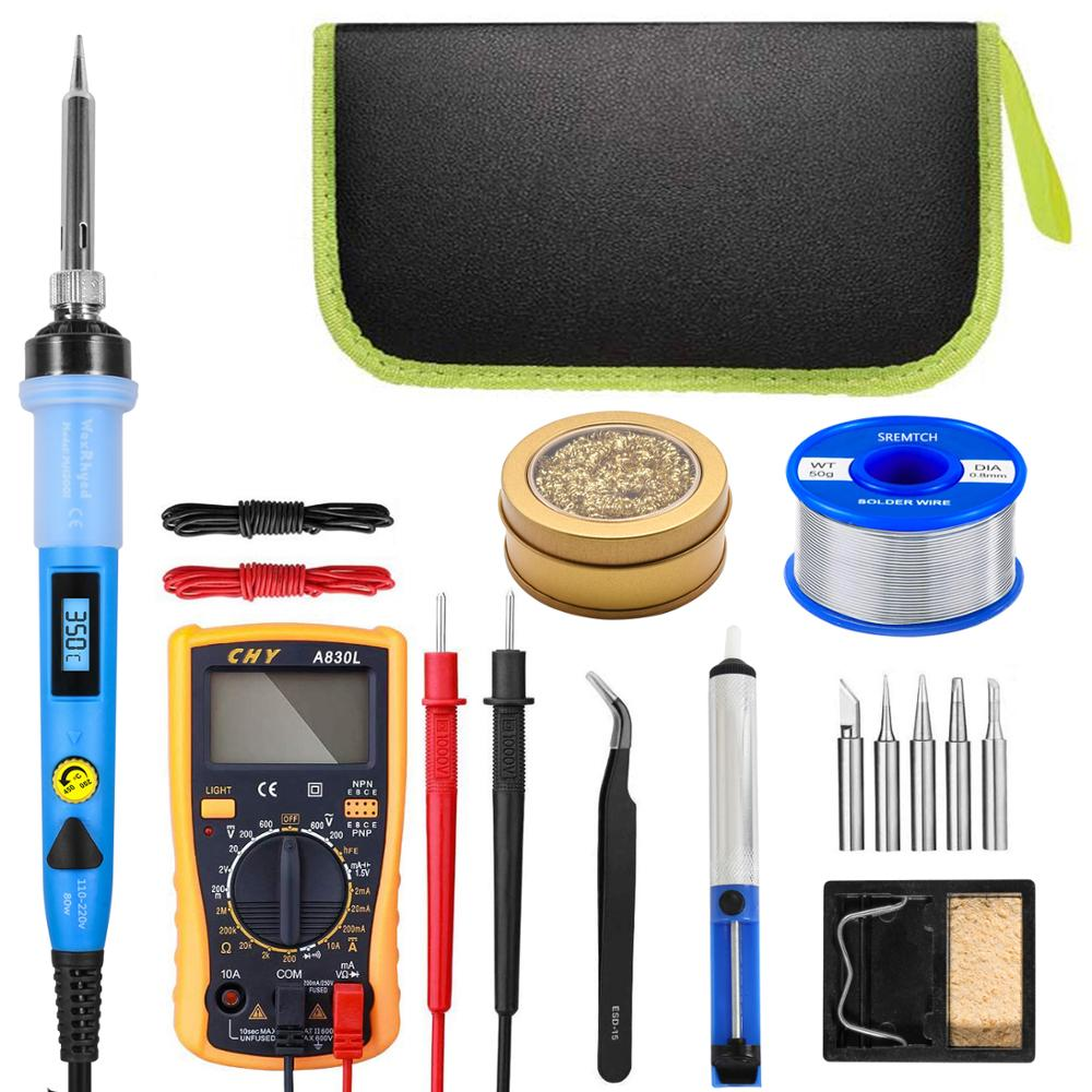 80W Digital Soldering Iron kit Electric With On-Off Switch Knife Desoldering Pump Tools