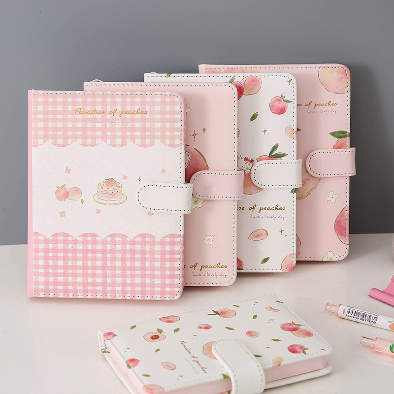 a5 illustration color page diary thick girl heart cute hand book korean student stationery notebook creative kawaii diary Fruit Peach Magnetic Buckle A5 Notebook PU Leather Diary Student Color Page Girl Heart Hand Book
