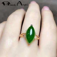 black angel 2020 new olives shaped 24k gold green chalcedony adjustable ring for women fashion wedding jewelry christmas gift