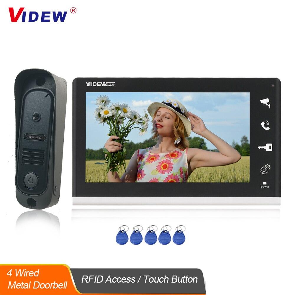 Видеодомофон VIDEW с камерой разблокировки RFID, 4 проводных звонка с 7-дюймовым экраном, ночным видением, домашний дверной звонок для виллы