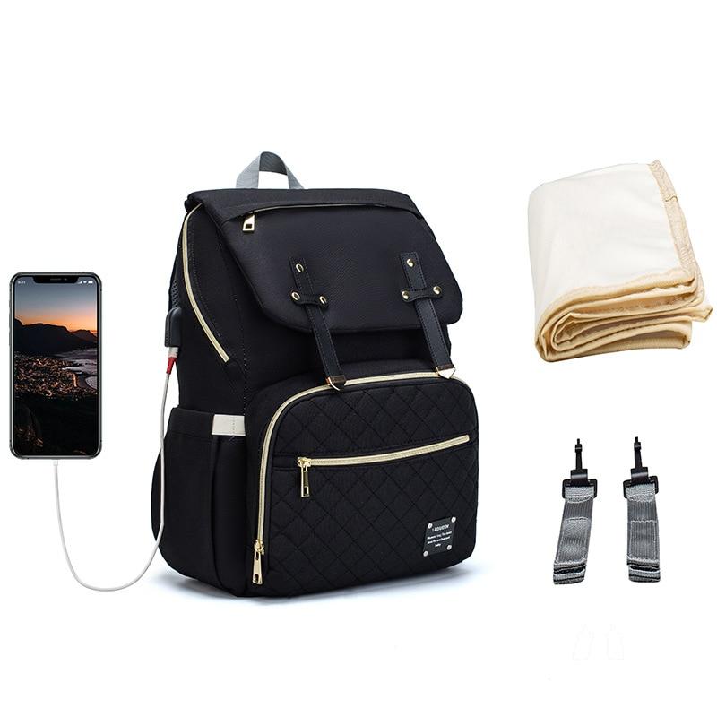 New Mummy Diaper Bag Baby Stroller Backpack USB Charging Waterproof Women Handbag Maternity Nursing Nappy Travel Knapsack