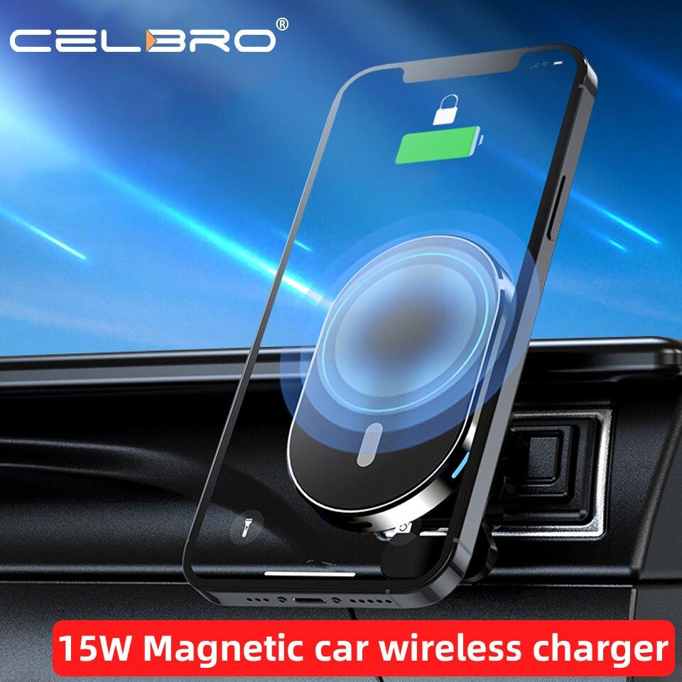 15w carregador de carro magnético sem fio carcharger carregamento rápido para o iphone 12 pro ímã máximo telefone carregador 360 graus roration suporte