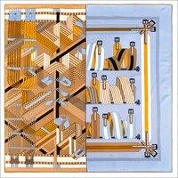 vintage print 9090cm square scarf 100 twill silk scarfs manual rolled scarf designer silk scarfs foulard en soie